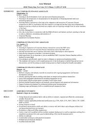 Corporate Finance Associate Resume Samples Velvet Jobs