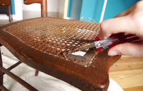fixing broken cane chair with butchers twine plaster disaster