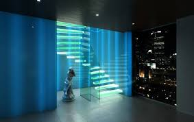 led glass lighting. cantilevered glass stair with led led lighting