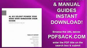 al ko silent power 3500 4000 5000 shredder user guide