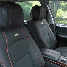 fh group car seat covers pu leather front buckets black red trim w beige steering