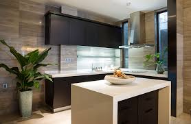 Modern L Shaped Kitchen With Black Cabinets And White Counter With Island