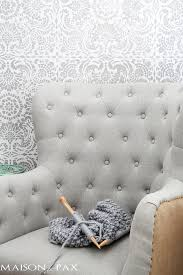 what a gorgeous accent wall this wall stencil gives the elegant look of wallpaper with