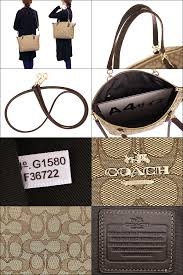 Coach COACH ☆ bags (handbags) F36722 36722 khaki   Brown outline signature  large Kelsey satchel outlet products