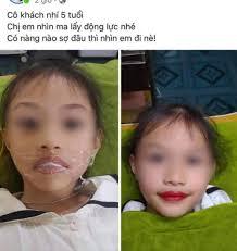 Chủ tiệm thẩm mỹ lấy con gái 5 tuổi ra phun môi làm mẫu quảng cáo nhận rổ  gạch đá