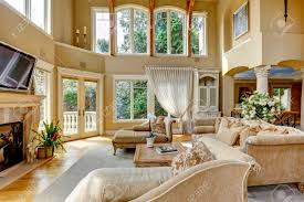 Living Room Antique Furniture Impressive High Ceiling Living Room With Tv Fireplace And Antique