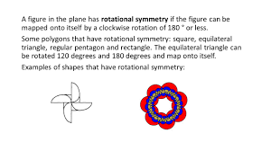 A figure in the plane has rotational symmetry if the figure can be mapped onto itself by a clockwise rotation of 180 ° or less