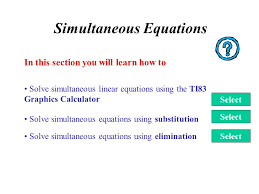 1 simultaneous equations solve simultaneous equations using elimination in this section you will learn how to solve simultaneous equations using