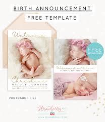 Template For Birth Announcement Free Birth Announcement Template For Photoshop Strawberry Kit