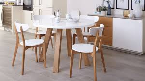 white gloss and oak 4 seater dining set round table