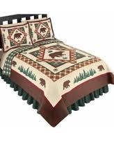 Bear quilts Sales & Deals & Woodland Inspired Northwoods Bear Reversible Lightweight Quilt, Brown  Multi, Full/Queen, Woodland Adamdwight.com