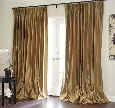 image of gold curtains living room door