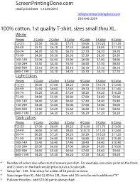 Price Sheet Screen Printing Done