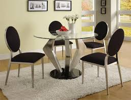 contemporary glass top dining room sets. Alexis Modern Round Glass Dining Table. Image Credit: Girlsonit. Trendy Contemporary Top Room Sets