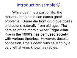 edgar allan poe s death persuasive essay feedback ppt  3 introduction sample