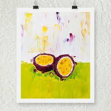 Kitchen Artwork Green Art Passion Fruit Artwork Fruit Still Life Print Purple