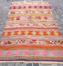 diy kilim rug decorative pink grey orange apartment