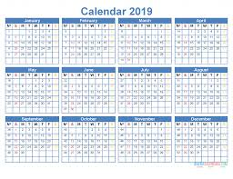 Printable 2019 Yearly Calendar Template Word Excel Pdf