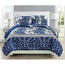 navy and white quilt.  White Mk Collection 3pc Bedspread Coverlet Quilted Floral White Navy Blue Over  Size New 186 KingCalifornia King On And Quilt