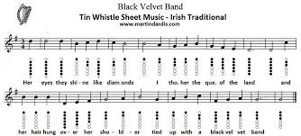 Traditional Irish Music Charts Black Velvet Band Whistle Music With Finger Chart Part 1