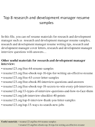 Picture Researcher Sample Resume Interesting Top 48 Research And Development Manager Resume Samples