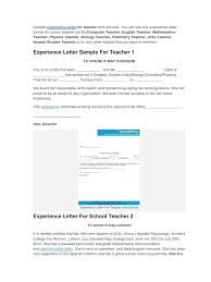 Sample Experience Certificate Format For School Teacher Teachers