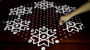 simple flowers kolam designs with 21 11 middle chukkala muggulu with dots rangoli design