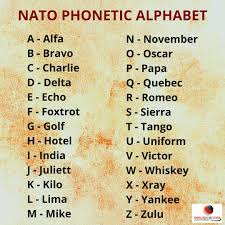Phonetic alphabet for international communication where it is sometimes important to provide correct information. Facebook