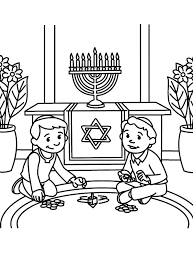 chanukah coloring pages kids happy story