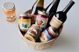 ravine vineyard s gift basket filled with wine and preserves