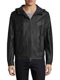 vince leather hooded scuba jacket in matte black