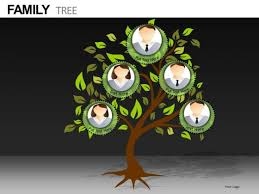 Family Tree With Replaceable Photos Powerpoint Templates