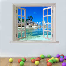 wall art graphic paradise beach tranquil view faux window printed vinyl sticker