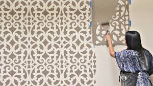 Stencil Art Designs For Walls How To Stencil An Accent Wall In Only 1 Hour Painting A Wallpaper Pattern With Wall Stencils