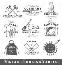 Recipe Labels Templates Set Of Vintage Cooking Labels Templates For The Design Of Logos