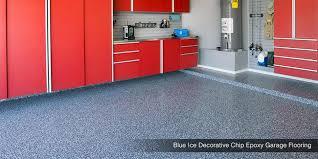 blue ice decorative chip epoxy garage floor
