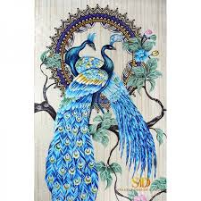 mosaic wall panel art aqua peacock