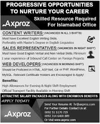 axproz islamabad jobs for content writers s  axproz islamabad jobs 2014 for content writers s representatives web developers
