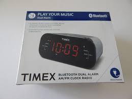 timex t332s bluetooth dual alarm am fm clock radio black