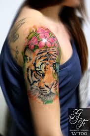 Gianlucaferrarotattoo Tiger Tigre Flower Color Peach Napoli