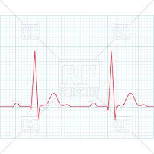 Medical Electrocardiogram Ecg On Grid Paper Vector Illustration Of