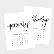 Small Calender Small 2019 Printable Calendar Small Size Hand Lettered Black And