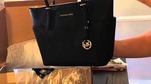 michael kors jet set top zip saffiano leather tote unboxing