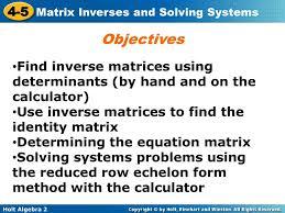 identity matrix determining the equation matrix solving