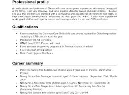 Professional Nanny Resume Sample Experienced Nanny Resume Sample Samples Qualifications Successmaker Co