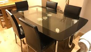 extendable oak chair black noir solid dining canterbury set glass table oval and leather round seater