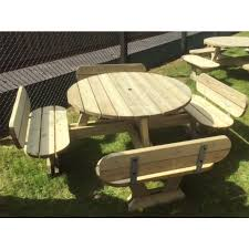 oxford round picnic table with seat backs