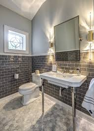 powder room furniture. Elegant Powder Room Transitional With Gray Subway Tile Modern Wall Sconce Furniture E