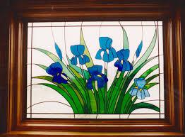 van gogh iris van gogh iris window viennese leaded glass door