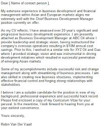 Cover Letter For A Business Development Manager Position
